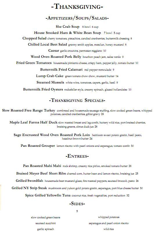 Blossom Thanksgiving Menu 2011