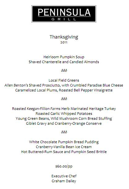 Peninsula Grill Thanksgiving Menu 2011